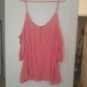 COLD SHOULDER EMBROIDERY PINK SALMON TOP